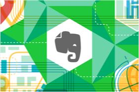 塗鴉背景上的 Evernote logo