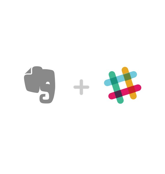 Evernote 和 slack logo。