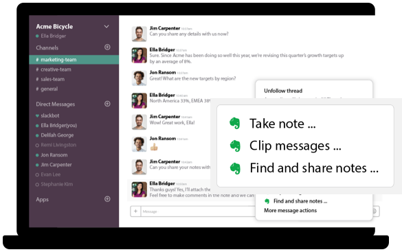 Screenshot image depicting Evernote integration with Slack