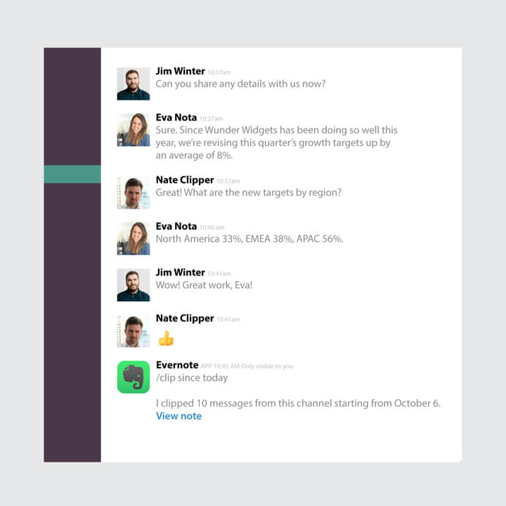 Abstract Slack UI showing the Evernote integration.