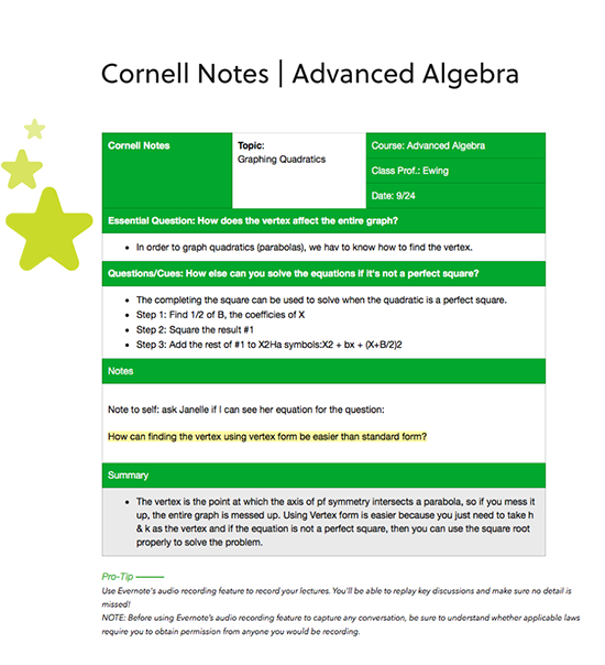 Cornell Note Taking Method Template from evernote.com