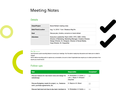 Templates for Evernote meeting notes template