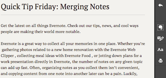 Evernote Clearly 툴바