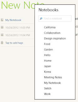 Notebooks menu