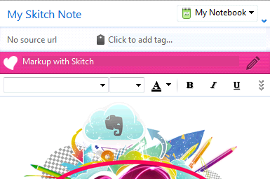 Skitch-Banner im Notizeditor