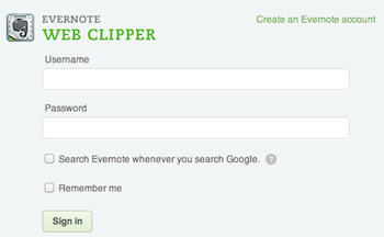 Web Clipper login